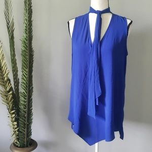 Alfani royal blue blouse with attached scarf
